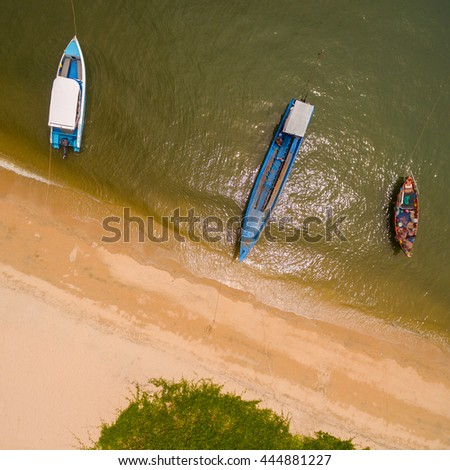 Aerial view of boats in the sea - stock photo