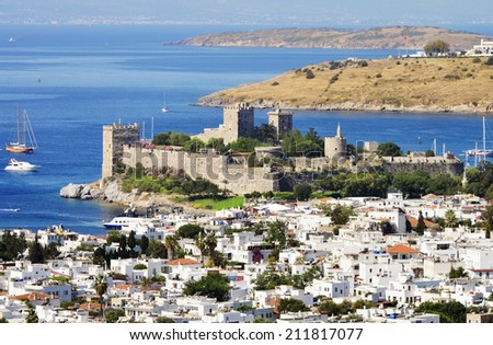 Aerial view of Bodrum on Turkish Riviera. - stock photo