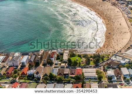 Aerial view of Bondi Beach from helicopter - Sydney, Australia. - stock photo