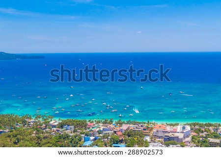 aerial view of Boracay island, Philippines - stock photo
