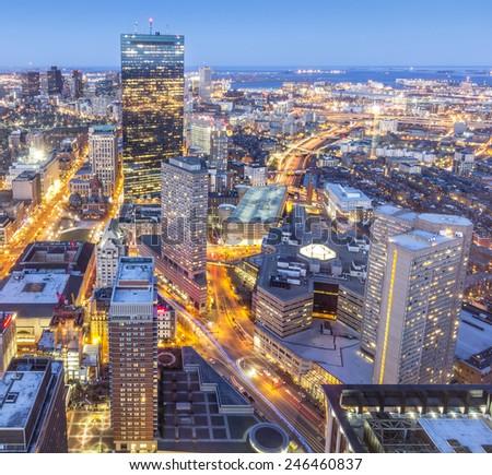 Aerial view of Boston in Massachusetts, USA at sunset. - stock photo