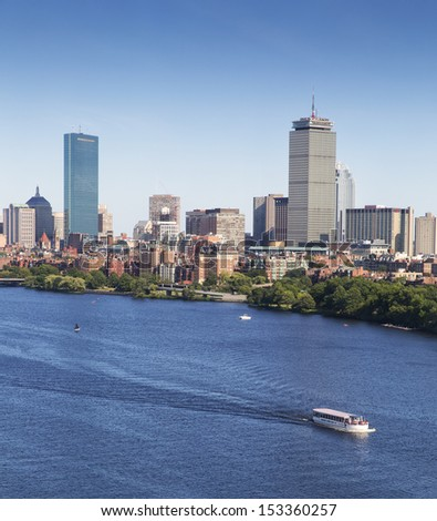 Aerial view of Boston in Massachusetts, USA on a sunny summer day. - stock photo