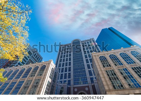 Aerial view of Boston skyline. - stock photo