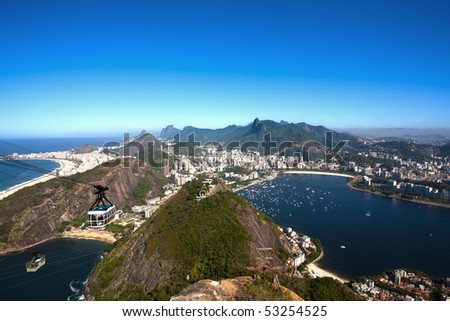 aerial view of botafogo and copacabana with the from the sugar loaf in rio de janeiro brazil - stock photo