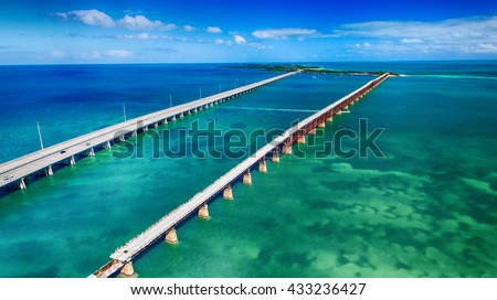 Aerial view of Bridge connecting Keys, Florida. - stock photo