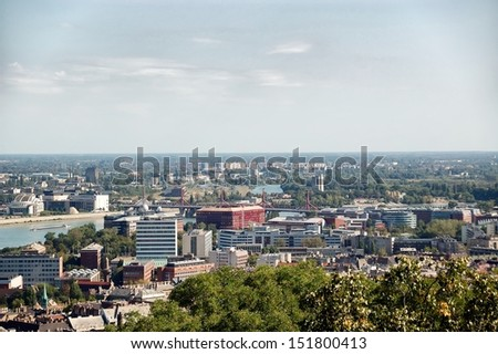 Aerial view of Budapest, Hungary. - stock photo