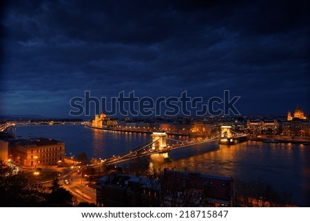 Aerial view of Budapest with Danube and sky - stock photo