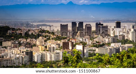 Aerial view of buildings at the waterfront, Rio De Janeiro, Brazil - stock photo