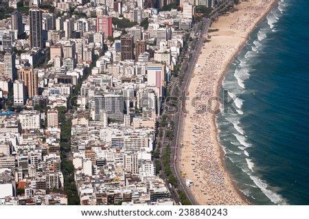Aerial View of Buildings in Front of the Ipanema Beach, Rio de Janeiro, Brazil - stock photo