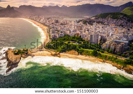 Aerial view of buildings on the beach front, Ipanema Beach, Rio De Janeiro, Brazil - stock photo