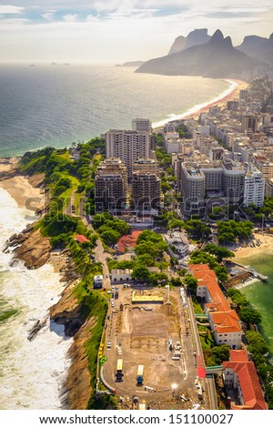 Aerial view of buildings on the beach front, Ipanema Beach, Rio De Janeiro, Brazil - stock photo