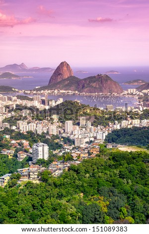 Aerial view of buildings on the beach front with Sugarloaf Mountain in the background, Botafogo, Guanabara Bay, Rio De Janeiro, Brazil - stock photo