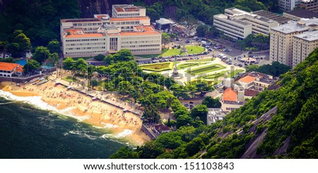 Aerial view of buildings on the beach, Urca, Rio de Janeiro, Brazil - stock photo