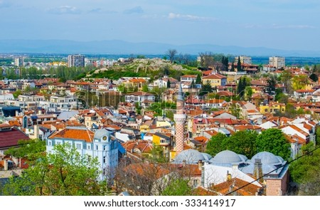 aerial view of bulgarian city plovdiv, which is famous for its old town and relics from ancient rome.  - stock photo