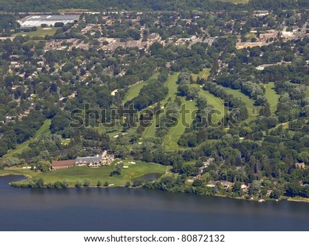 aerial view of Burlington Golf & Country Club located on the shore of Lake Ontario, Burlington Ontario Canada - stock photo