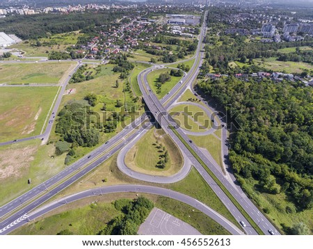 Aerial view of busy road in Sosnowiec Poland. - stock photo