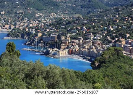 Aerial view of Camogli, Italy near Portofino - stock photo