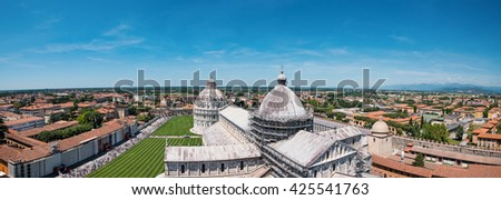 Aerial view of Campo dei Miracoli from Leaning tower of Pisa, Italy. - stock photo
