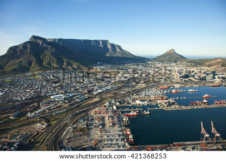 Aerial view of Cape Town city with Cape Town Harbour and Table Mountain, South Africa - stock photo