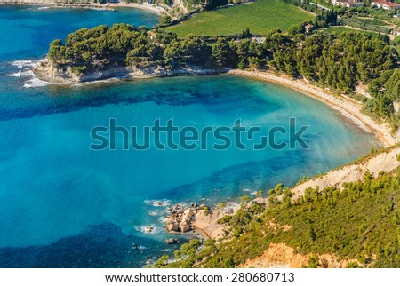 Aerial view of Cassis from the coastal path between Semaphore La Ciotat, Grande Tete and Cap Canaille, Bouches-du-Rhone, Provence, France. - stock photo