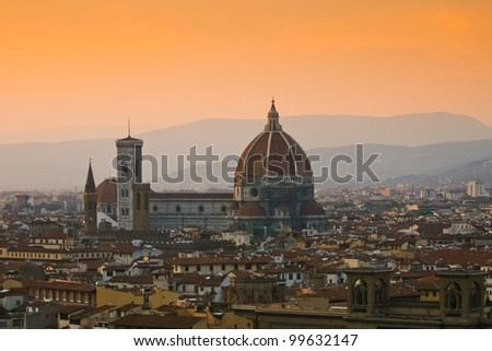 Aerial view of Cathedral Santa Maria del Fiore, Florence, Italy - stock photo