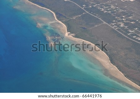 Aerial view of Cays, keys an coastline of Grand Bahama Island, Bahamas - stock photo