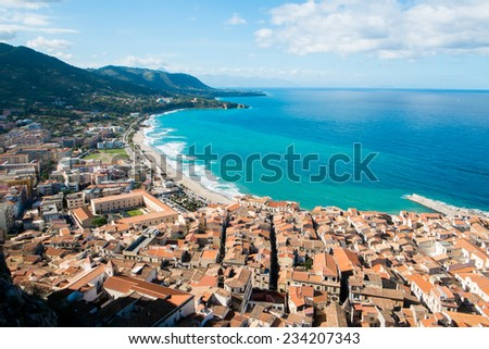 Aerial view of Cefalu old town, Sicily, Italy - stock photo
