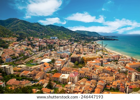 aerial view of Cefalu residential district near the sea, Sicily, Italy - stock photo