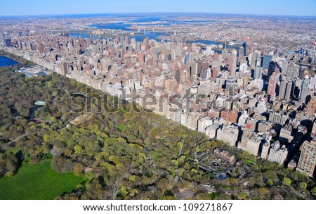 Aerial view of Central Park and Upper East Side Manhattan, New York, USA - stock photo