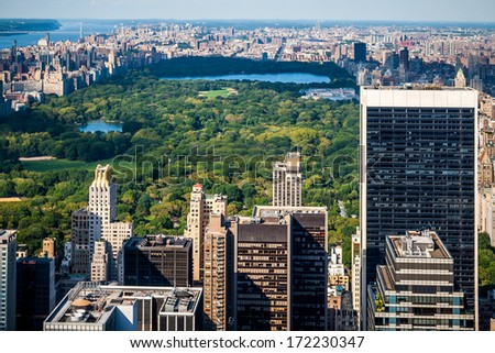 Aerial view of Central Park in New York city, USA. - stock photo