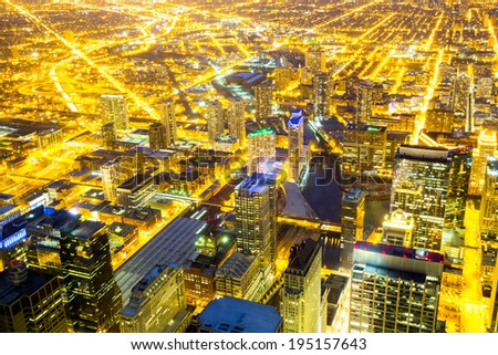 Aerial view of Chicago City downtown at night - stock photo