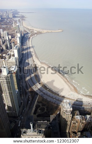 Aerial View of Chicago's Northern Skyline - stock photo