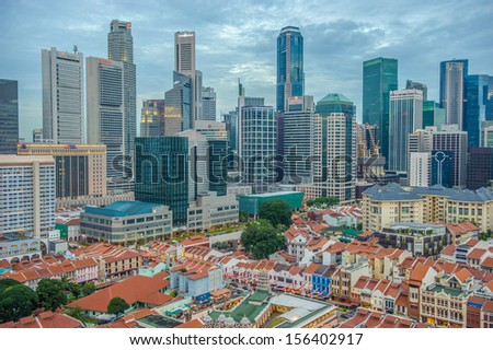 Aerial view of Chinatown with city skyline, Singapore, Asia - stock photo