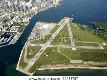 Aerial view of City Centre, Airport, Toronto, ON - stock photo