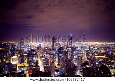 Aerial View of City Downtown - stock photo