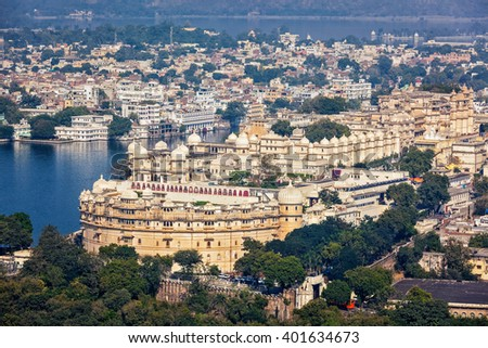 Aerial view of  City Palace. Udaipur, Rajasthan, India - stock photo