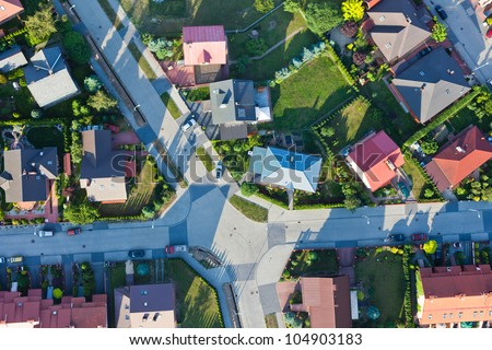 aerial view of city suburbs - stock photo