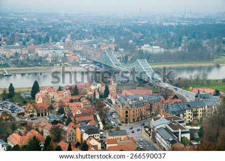 Aerial View Of City With Bridge Over River Elbe In Dresden; Germany - stock photo