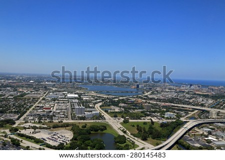 Aerial view of Clear Lake and downtown West Palm Beach, Florida - stock photo