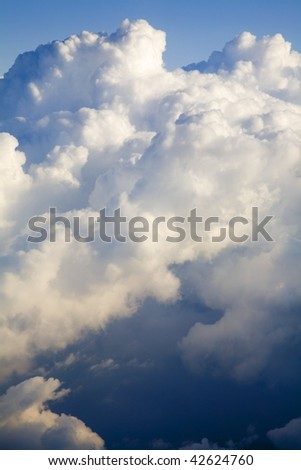 Aerial view of clouds building - stock photo