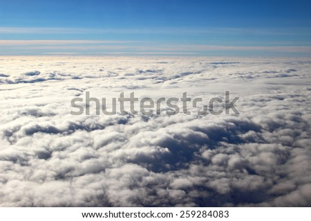 Aerial view of clouds in the sky - stock photo