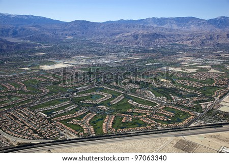 Aerial view of Coachella Valley, California - stock photo