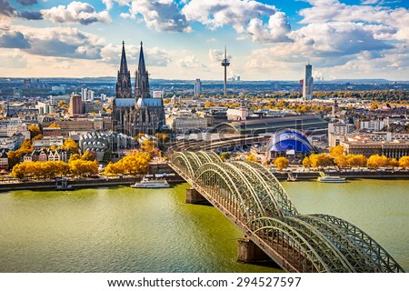 Aerial view of Cologne, Germany - stock photo