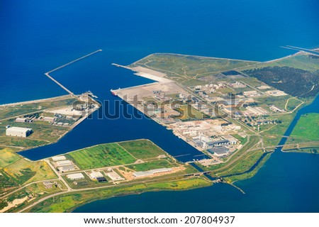 Aerial view of commercial port - stock photo
