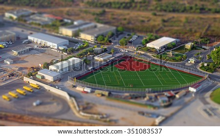 Aerial view of compact baseball and football field. - stock photo