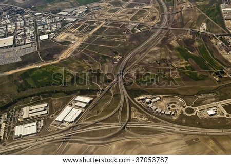 Aerial view of complex highway interchange in Madrid - stock photo