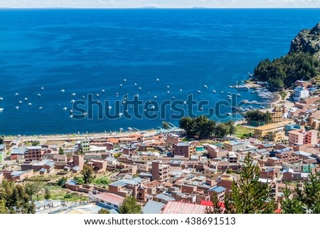 Aerial view of Copacabana town on the coast of Titicaca lake, Bolivia - stock photo