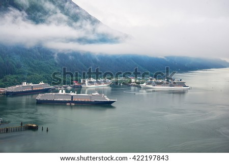 Aerial view of cruise ships at port in Juneau, Alaska  - stock photo