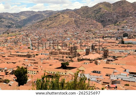 Aerial view of Cuzco cityscape of historic center with Plaza des Armas. Cuzco was the old capital of the Inkas in the sacred valley of the Andes, Cusco, Peru - stock photo