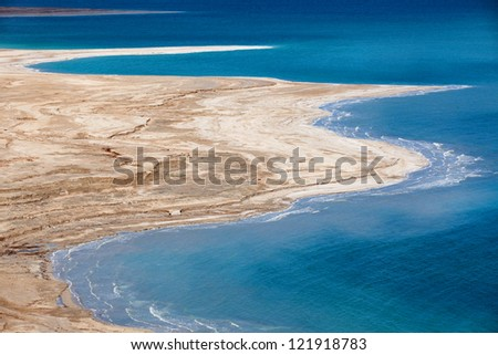 Aerial view of Dead Sea coastline - stock photo